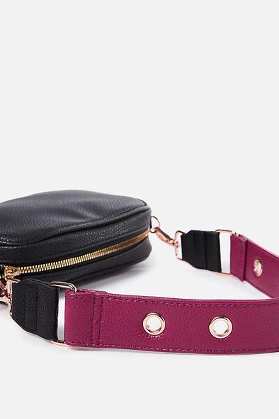 Short Bag Strap, RASPBERRY PEBBLE