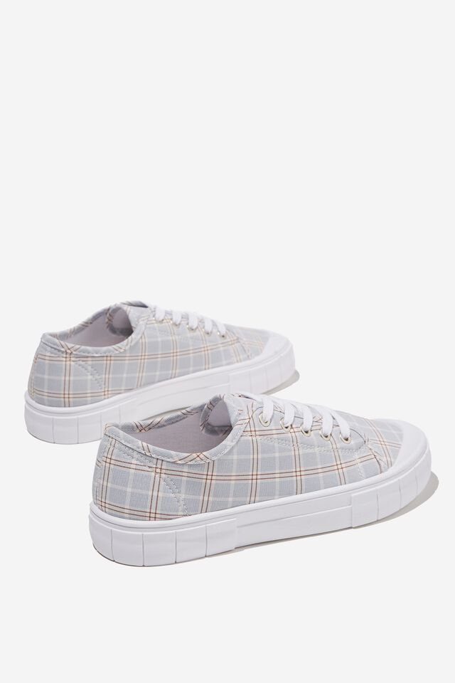 Peggy Lace Up Plimsoll, LIGHT BLUE CHECK MULTI