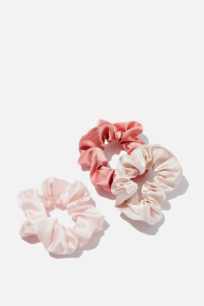 3Pk Scrunchies, BLUSH SATIN TRIO