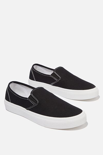 Harper Slip On, BLACK WHITE CANVAS