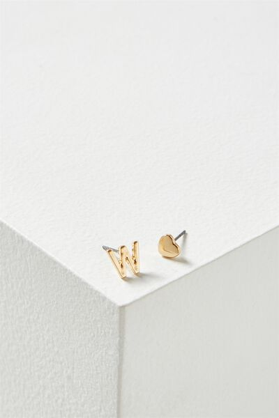 Alpha Stud Earring, GOLD - W