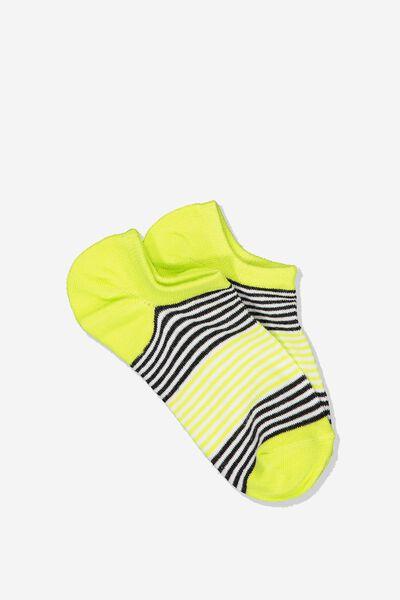 Sports Low Cut Sock, NEON FINE BLOCK STRIPE