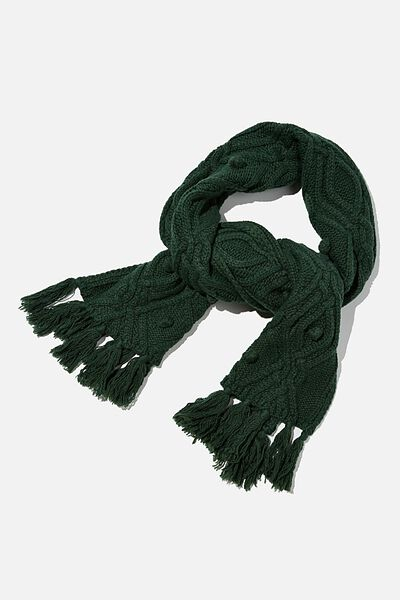 Heritage Knit Scarf, WILLOW GREEN CABLE KNIT