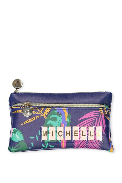 Personalised Dual Zip Cosmetic Case, PARROT