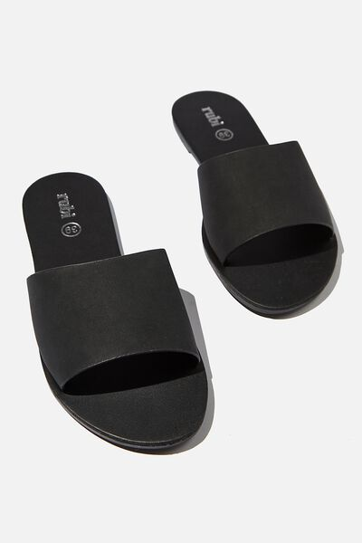 Carrie Minimal Slide, BLACK NUBUCK/BLACK