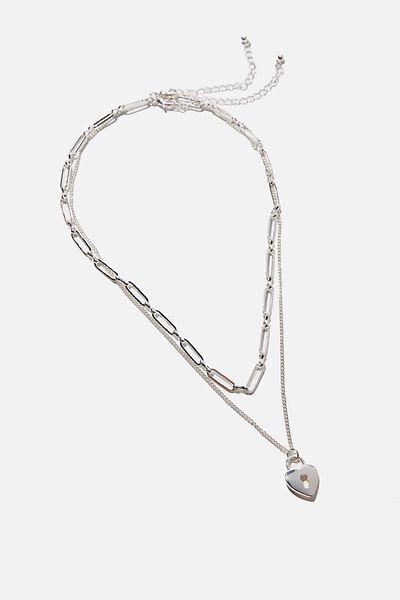 Keepsake 2 Pack Necklace Set, SILVER HEART PADLOCK