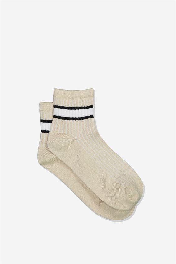 Quarter Crew Sock, OATMEAL MARLE BLACK/ WHITE STRIPE