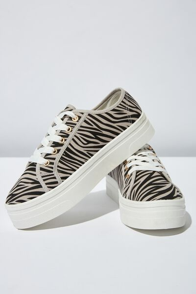Willow Platform Sneaker, GREY ZEBRA PRINT