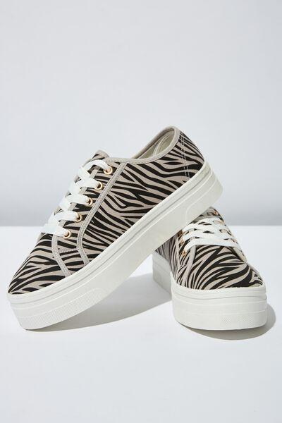 Willow Platform Sneaker, GREY ZEBRA PRINT
