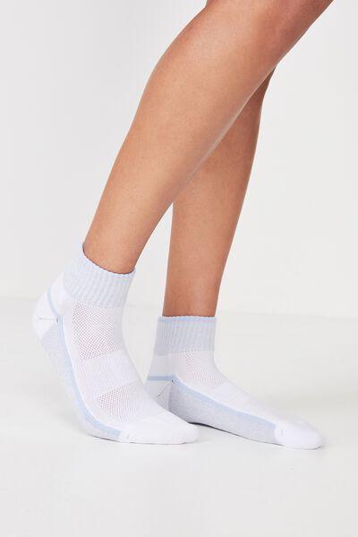 Cushioned Quarter Crew Sock, WHITE/LILAC