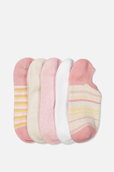 5Pk Sports Low Cut Sock, MISTY ROSE CHEVRON MULTI