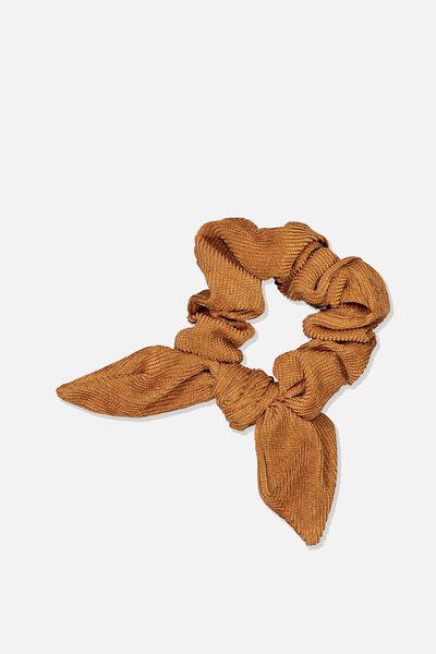 Tribecca Tie Scrunchie, RUST MINI CORD