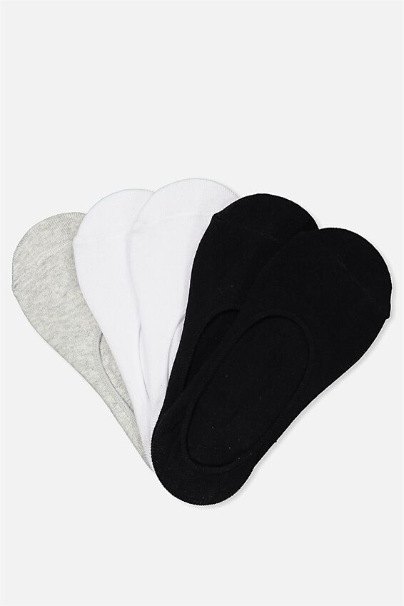 5Pk No Show Sock, MULTI PLAIN