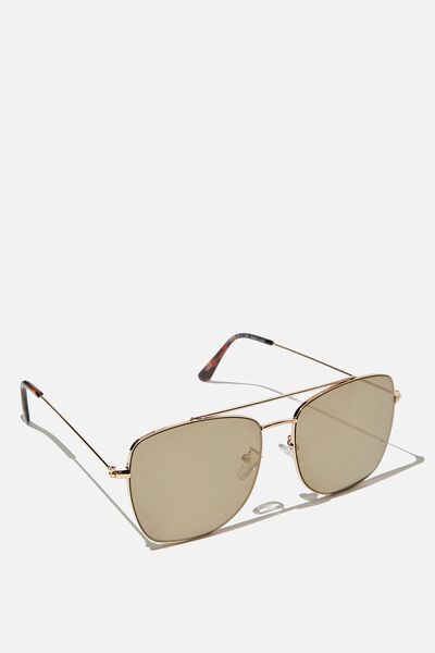 Square Aviator Sunglass, BRUSHED GOLD