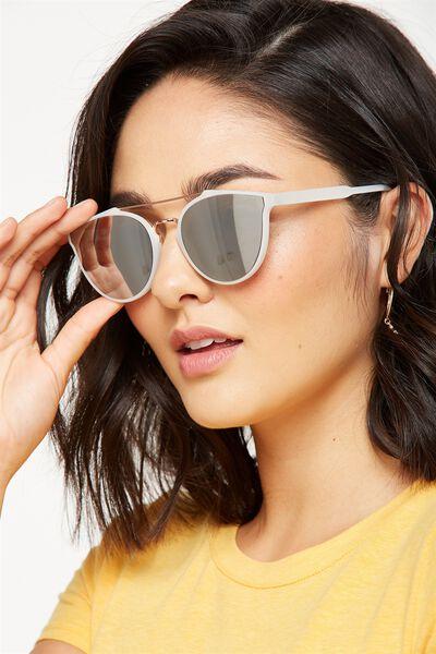 Bianca Top Bar Sunglasses, M.MILKY BILLOWING/ROSE GOLD