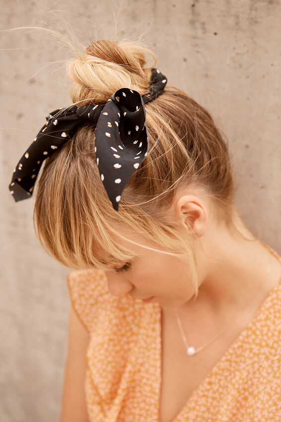 Maddison Scarf Scrunchie, BLACK MINI LEOPARD
