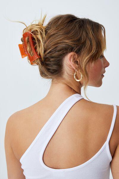 Amber Hair Claw, TRANSPARENT ORANGE