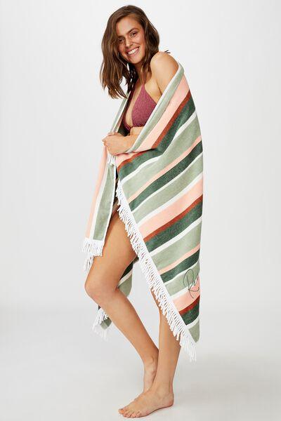 Personalised Rectangle Towel, BLUSH/SAGE VERTICAL STRIPE