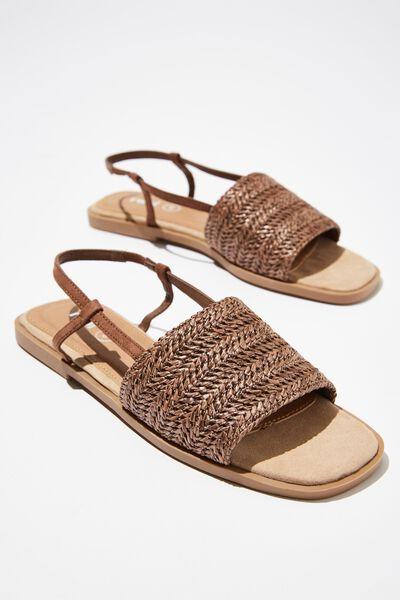 Piper Sling Back Sandal, CHOCOLATE RAFFIA