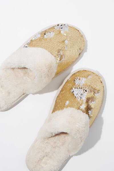 Sequin Slipper, GOLD SEQUIN