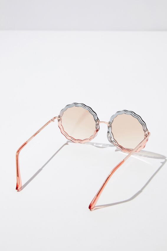 Polly Oval Sunglasses, CORAL