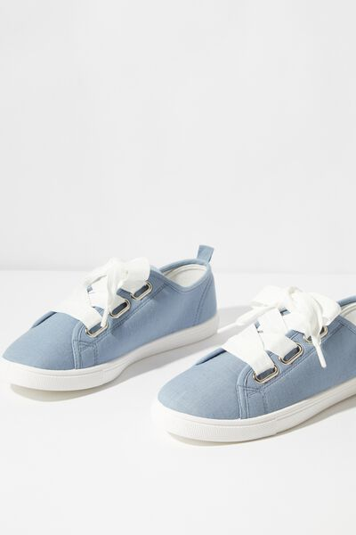 Penelope Lace Up Plimsoll, CHAMBRAY LINEN
