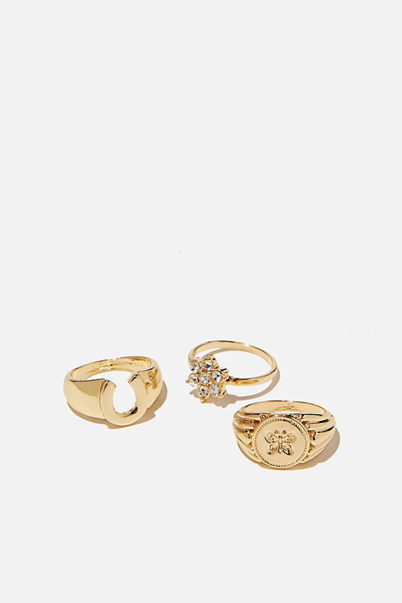 Brighter Days Ring Set, BUTTERFLY DAISY GOLD