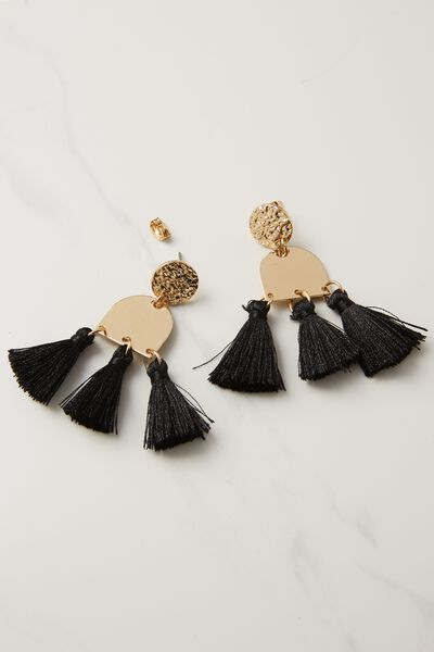 Kingsley Metal Tassel Statement Earring, BLACK