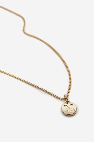 Letter Charm Necklace, GOLD M