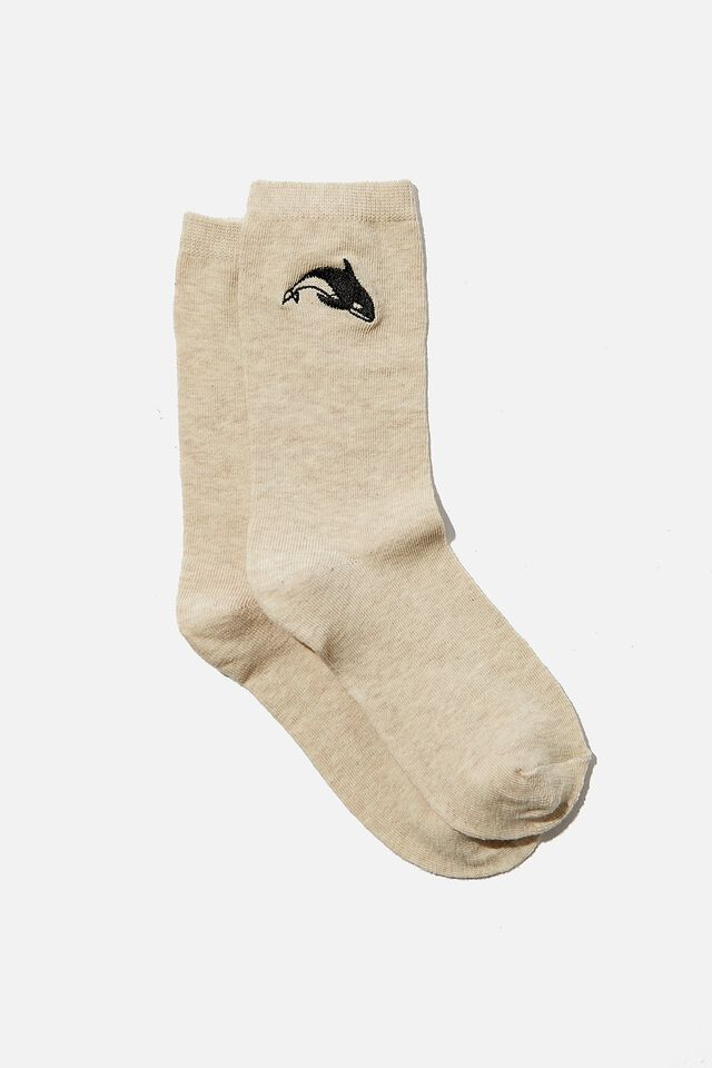 Carrie Crew Sock, OAT MARLE WHALE