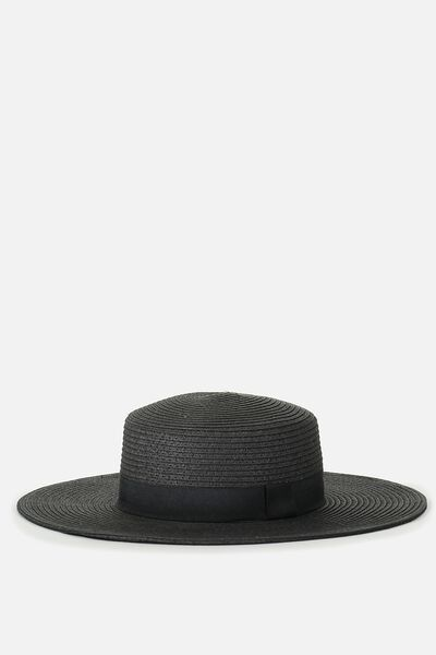 Ascot Boater Hat, BLACK