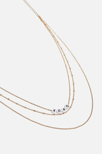 Love Letters Beaded Chain Necklace, GOLD
