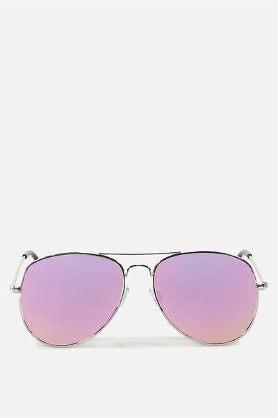 Arabella Metal Sunglasses, SILVER/PURPLE