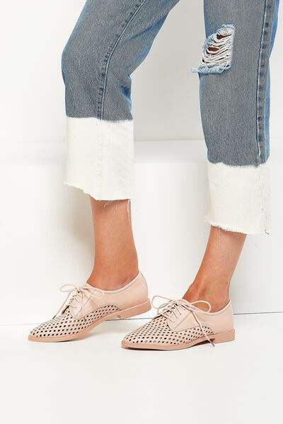 Lana Laser Cut Oxford Lace Up, BLUSH MONO PU