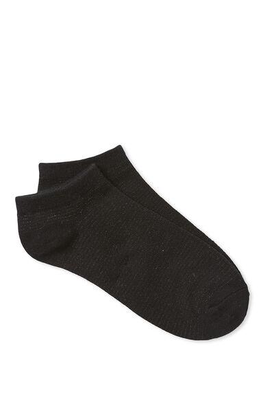 Maggie Mini Stripe Sock, BLACK/BLACK