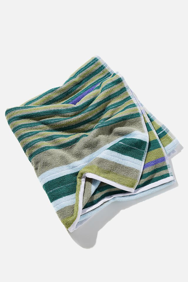 Bondi Rectangle Towel, FOREST GREEN VERITY VARIEGATED STRIPE