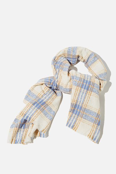 Brady Blanket Scarf, AIR BLUE MOLLY CHECK
