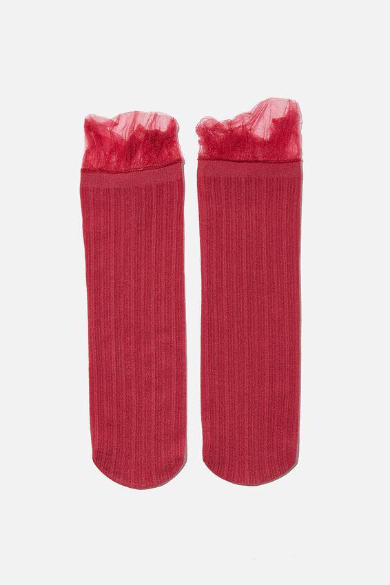 Sheer Frilled Ankle Sock, DRY ROSE