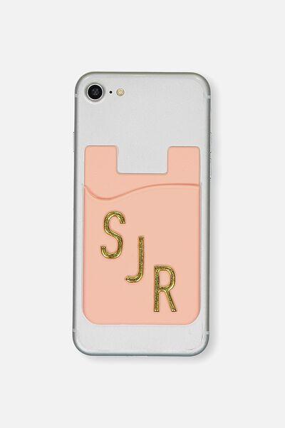 Personalised Phone Card Holder, PEACH BUD