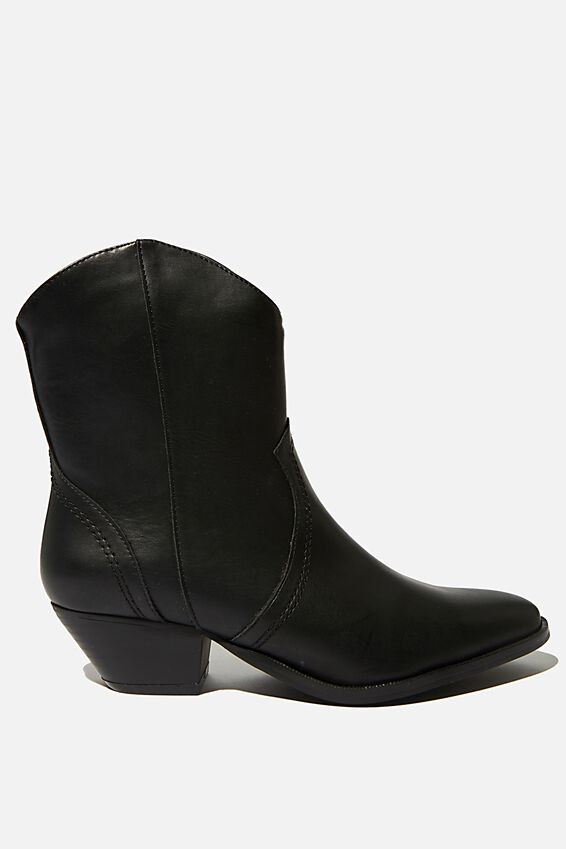 Larissa Western Boot, BLACK SMOOTH PU