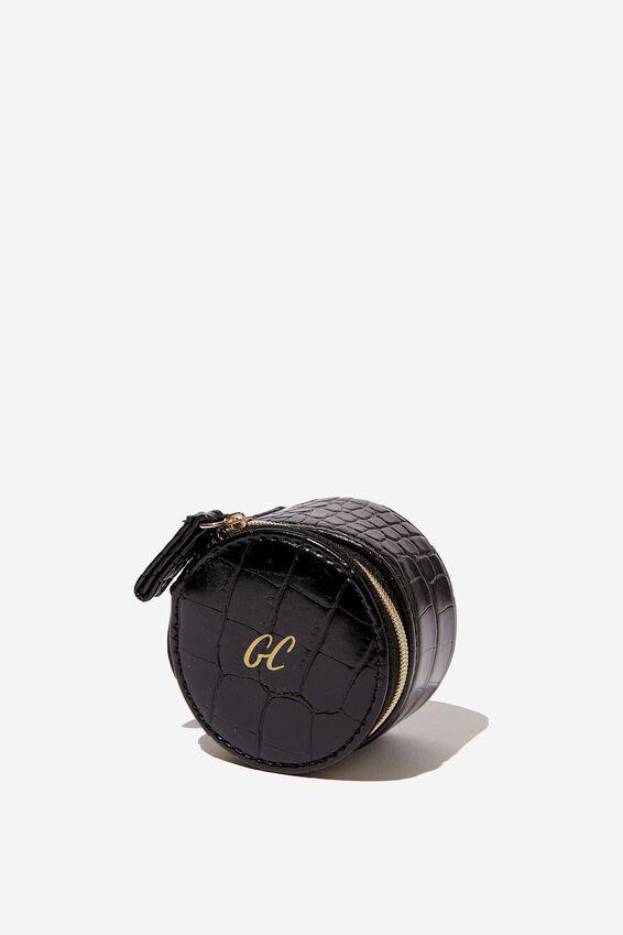 Personalized Mini Jewelry Box, BLACK CROC