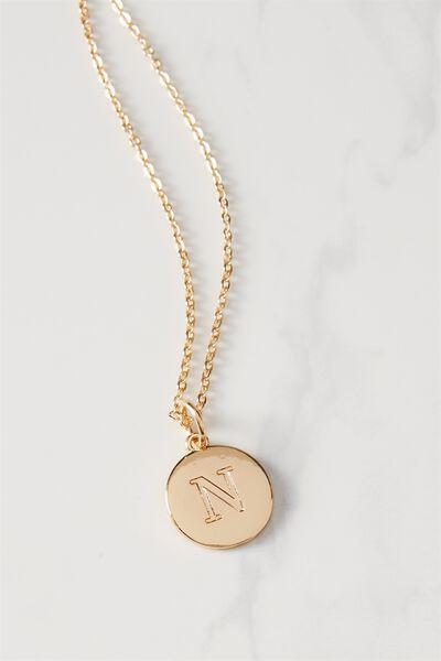 Letter Flat Pendant Necklace, GOLD - N