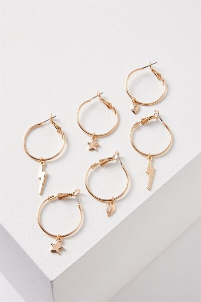 Ava Hoop Charms Pack, GOLD