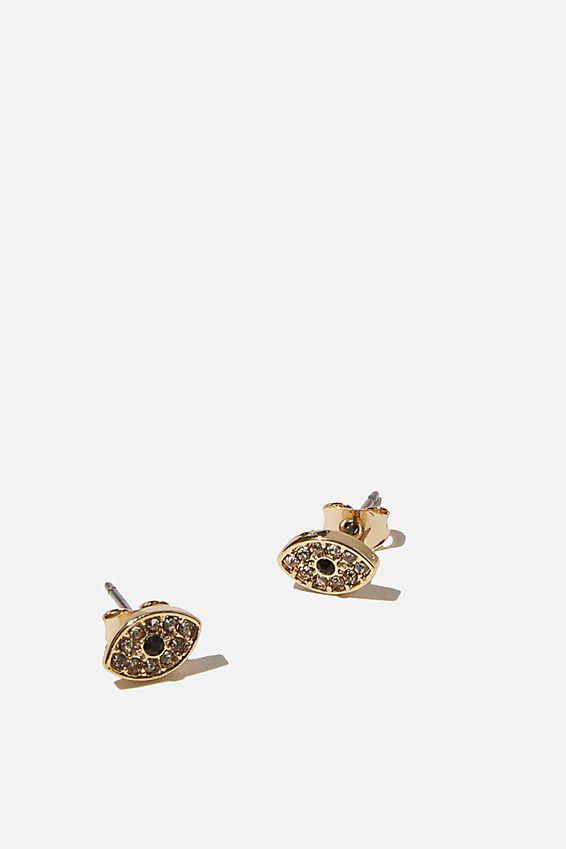 Premium Stud Earrings, EVIL EYE GOLD