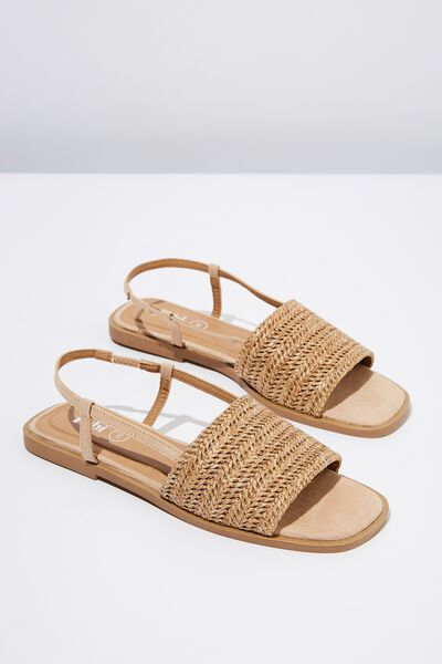 Piper Sling Back Sandal, TAN RAFFIA