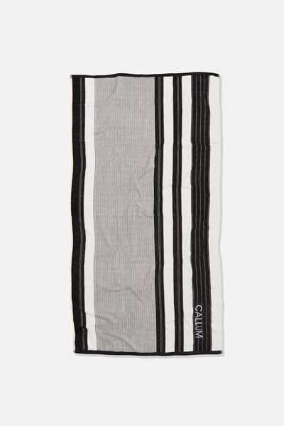 Personalised Bondi Rectangle Towel, BLACK POOLSIDE STRIPE
