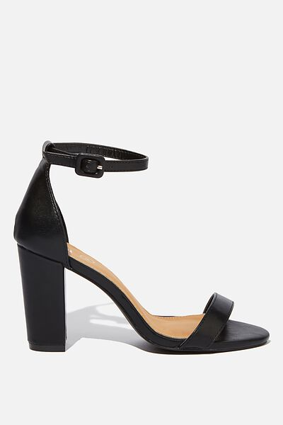 San Luis Heel, BLACK SMOOTH PU