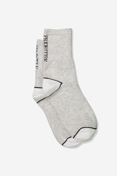 Fine Rib Sports Sock, GREY MARLE/PRIORITSE YOURSELF