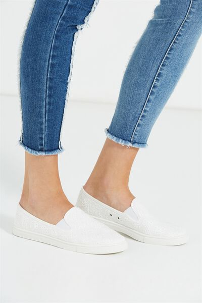 Hazel Slip On Sneaker, WHITE BRODERIE