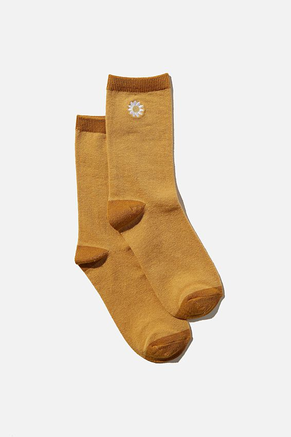 Carrie Crew Sock, RETRO YELLOW/ DAISY